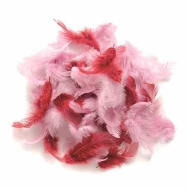 10 gram decoratie veertjes roze kleuren