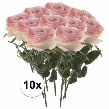 10 x kunstbloemen steelbloem licht roze roos simone 45 cm