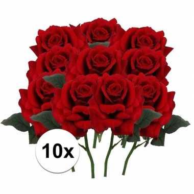 10 x kunstbloemen steelbloem rode roos deluxe 31 cm