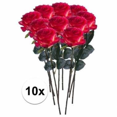 10 x kunstbloemen steelbloem rood/gele roos simone 45 cm