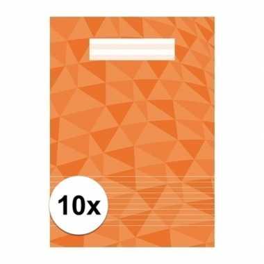 10 x schoolspullen schrift a4 gelinieerd oranje