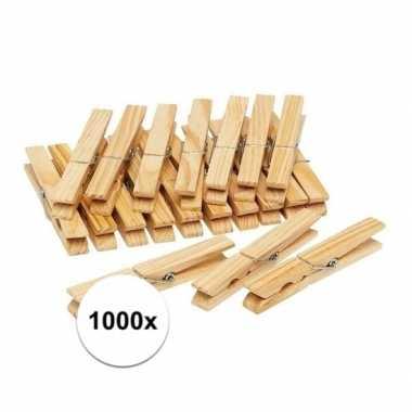 1000x houten wasgoedknijpers / knijpers