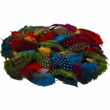 100x gekleurde parelhoen veertjes