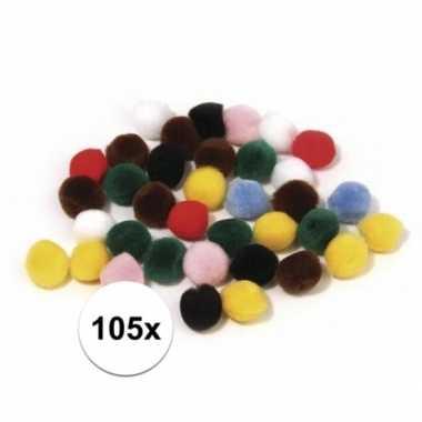 105x hobby pompons 25 mm gekleurd