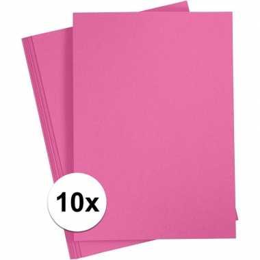 10x fuchsia roze kartonnen vel a4