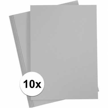 10x grijs kartonnen vel a4