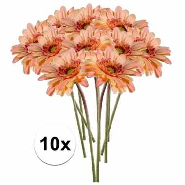 10x kunstbloemen steelbloem perzik oranje gerbera 47 cm