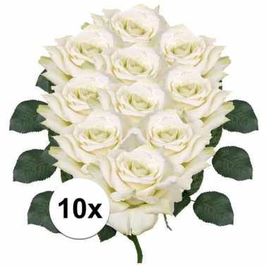 10x kunstbloemen witte roos 31 cm