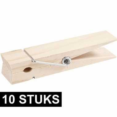 10x mega knijper van hout 15 cm