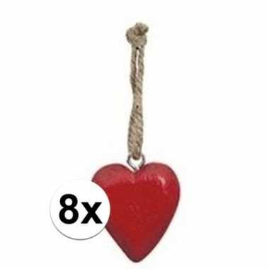 10x rood hartje aan hanger 5 cm