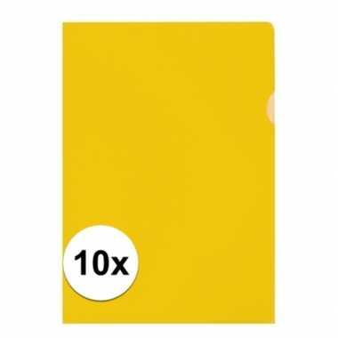 10x tekeningen opbergmap a4 geel