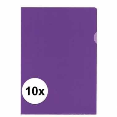 10x tekeningen opbergmap a4 paars