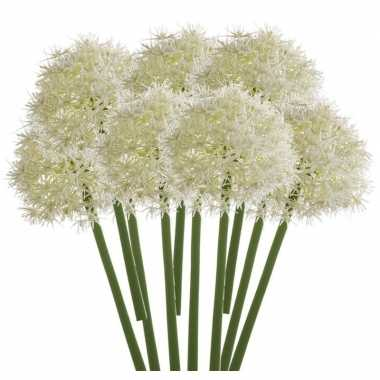 10x witte kunst allium/sierui kunstbloemen 65 cm decoratie