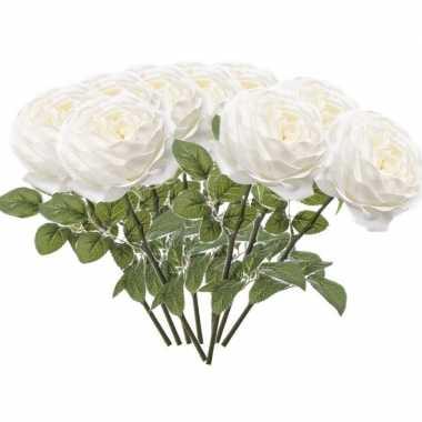 10x witte kunstroos kunstbloemen 66 cm decoratie