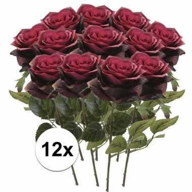 12 x kunstbloemen steelbloem donker rode roos simone 45 cm