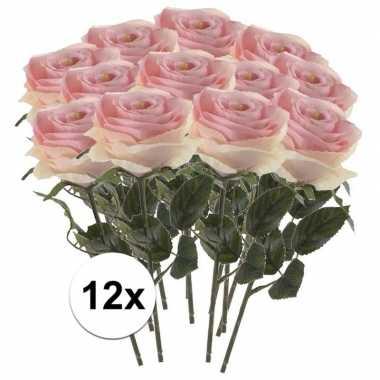 12 x kunstbloemen steelbloem licht roze roos simone 45 cm
