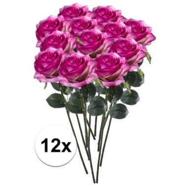 12 x kunstbloemen steelbloem paars/roze roos simone 45 cm