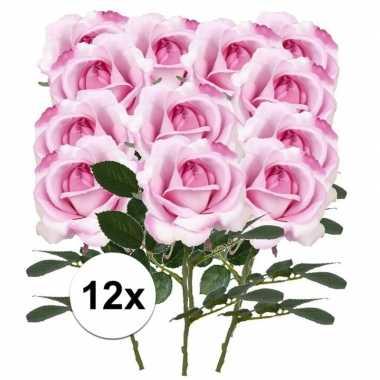 12 x kunstbloemen steelbloem roze roos carol 37 cm