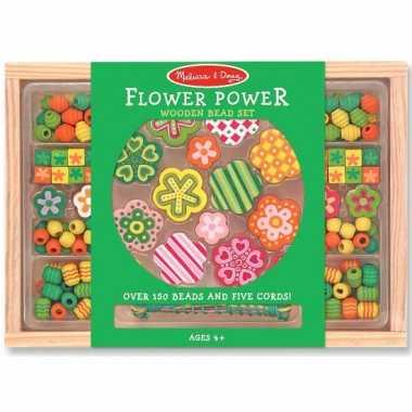 120 delige kralenset van hout flower power
