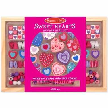 120 delige kralenset van hout sweet hearts