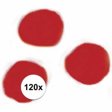 120x hobby pompons 15 mm rood
