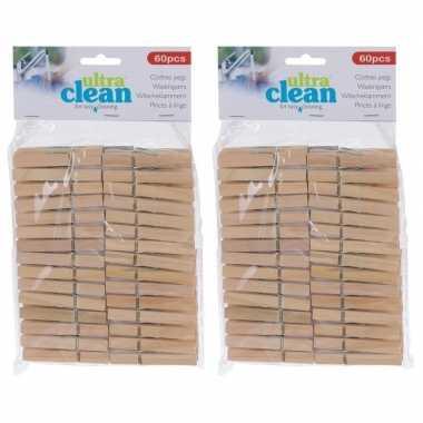 120x houten wasgoedknijpers 7 cm