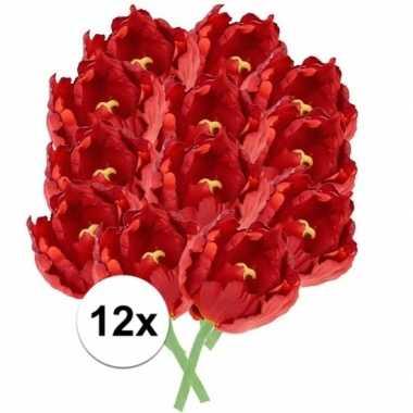 12x kunstbloemen tulp rood 25 cm