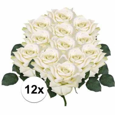 12x kunstbloemen witte roos 31 cm