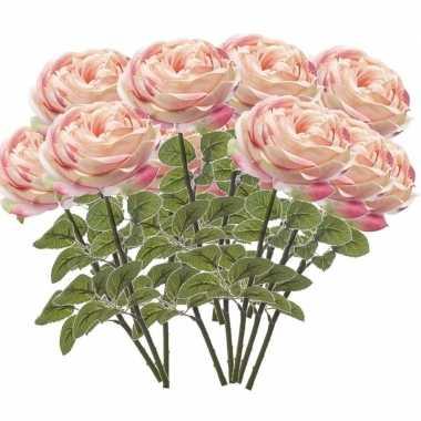 12x lichtroze kunstroos kunstbloemen 66 cm decoratie
