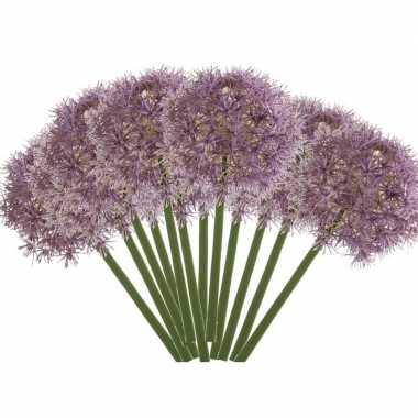 12x lila paarse kunst allium/sierui kunstbloemen 65 cm decoratie