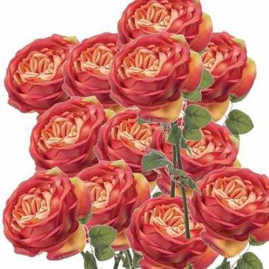 12x oranje kunstroos kunstbloemen 66 cm decoratie