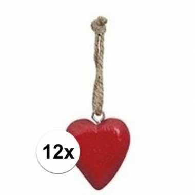12x rood hartje aan hanger 5 cm