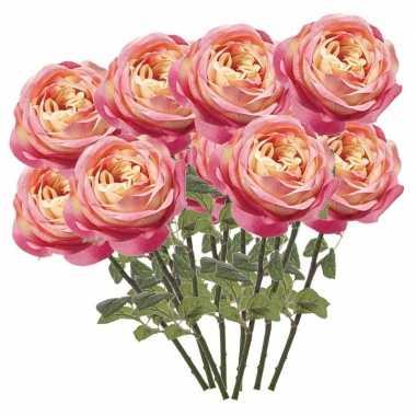 12x roze kunstroos kunstbloemen 66 cm decoratie