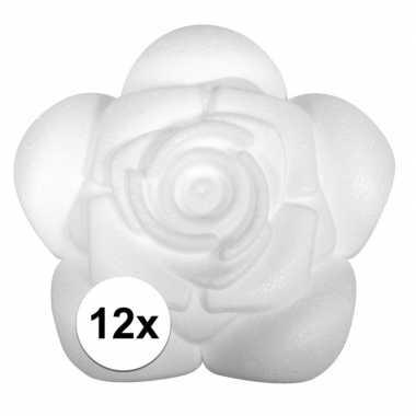 12x styropor piepschuim roosjes 11 cm