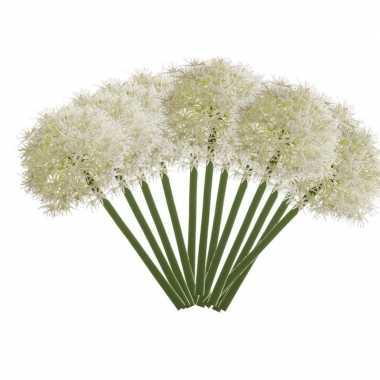 12x witte kunst allium/sierui kunstbloemen 65 cm decoratie
