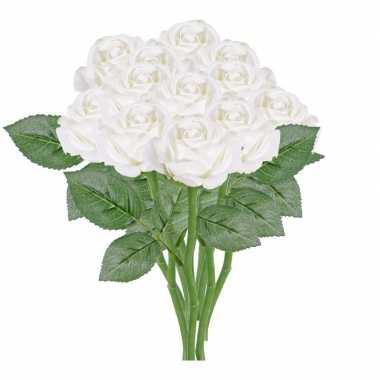 12x witte kunstroos kunstbloemen 27 cm decoratie