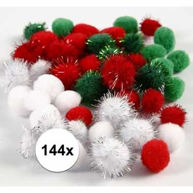 144x hobby pompons 15-20 mm wit/groen/rood