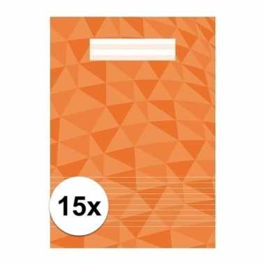 15 x schoolspullen schrift a4 gelinieerd oranje