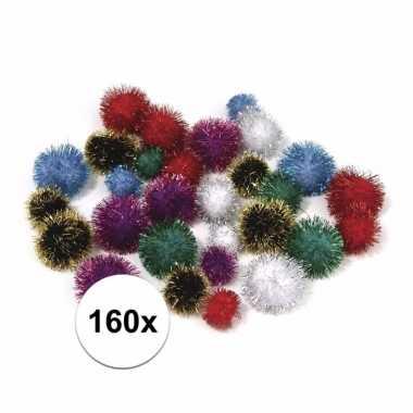 160x hobby pompons 25 mm metalic gekleurd