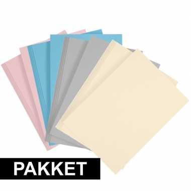 16x a4 hobbykarton in vier kleuren lichtblauw/grijs/lichtroze/beige