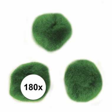 180x hobby pompons 15 mm groen