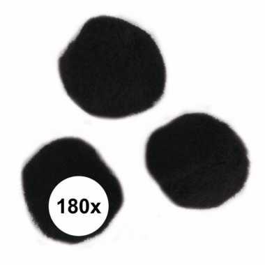 180x hobby pompons 15 mm zwart