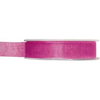 1x fuchsia roze organzalint rollen 1,5 cm x 20 meter cadeaulint verpakkingsmateriaal