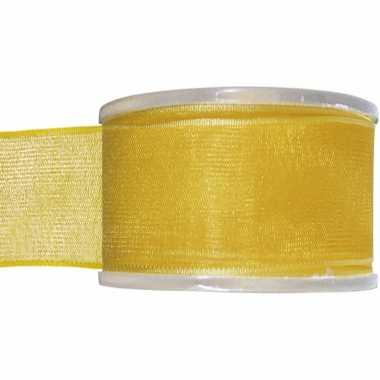 1x gele organzalint rollen 4 cm x 20 meter cadeaulint verpakkingsmateriaal