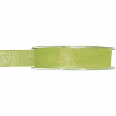 1x groene organzalint rollen 1,5 cm x 20 meter cadeaulint verpakkingsmateriaal
