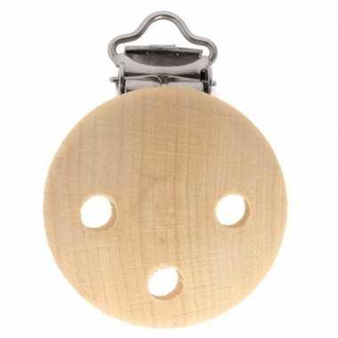 1x houten speenkoordclip naturel 3,5 cm