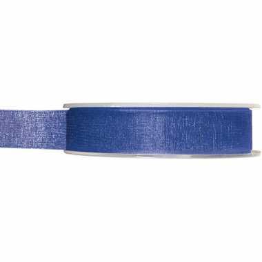 1x kobaltblauwe organzalint rollen 1,5 cm x 20 meter cadeaulint verpakkingsmateriaal