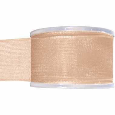 1x koraal roze organzalint rollen 4 cm x 20 meter cadeaulint verpakkingsmateriaal