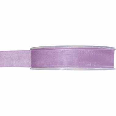 1x lila organzalint rollen 1,5 cm x 20 meter cadeaulint verpakkingsmateriaal