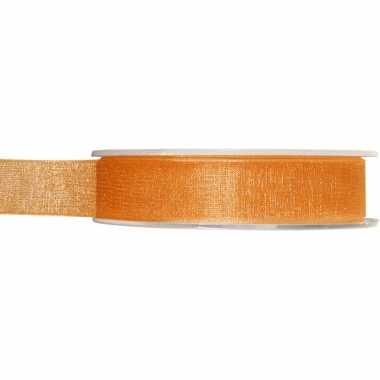1x oranje organzalint rollen 1,5 cm x 20 meter cadeaulint verpakkingsmateriaal